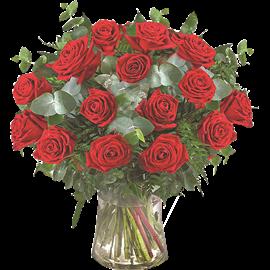 זר ורדים אדומים15פרחים
