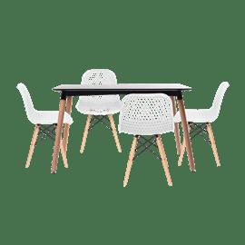 סט שולחן שחור+ 4 כסאות