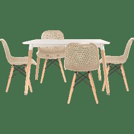 סט שולחן לבן+ 4 כסאות