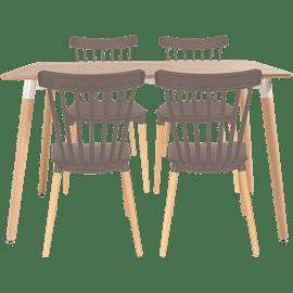 סט שולחן  טבעי+ 4 כסאות