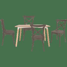 סט שולחן גוון טבעי+ 4 כס