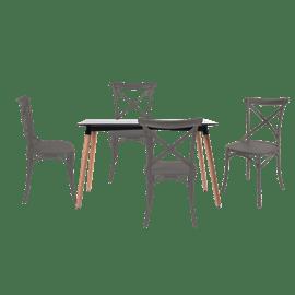 סט שולחן גוון שחור+ 4 כס