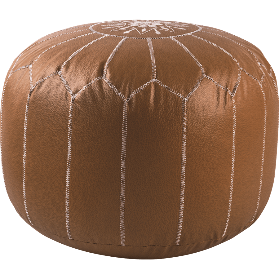 פוף דמוי עור עם רקמה