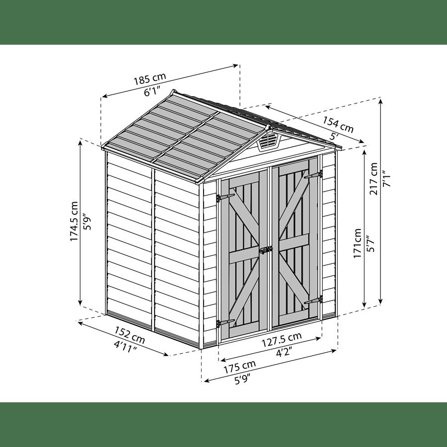 מחסן סקיילייט טאן 6X5