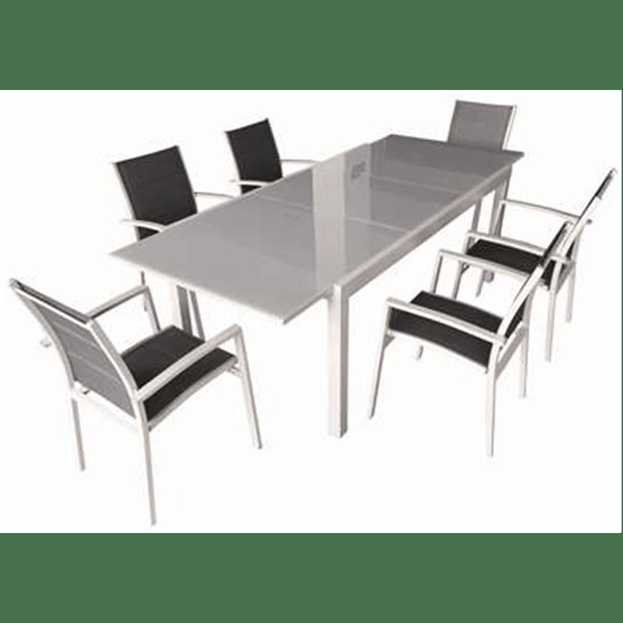סט שולחן +6 כסאות כסף