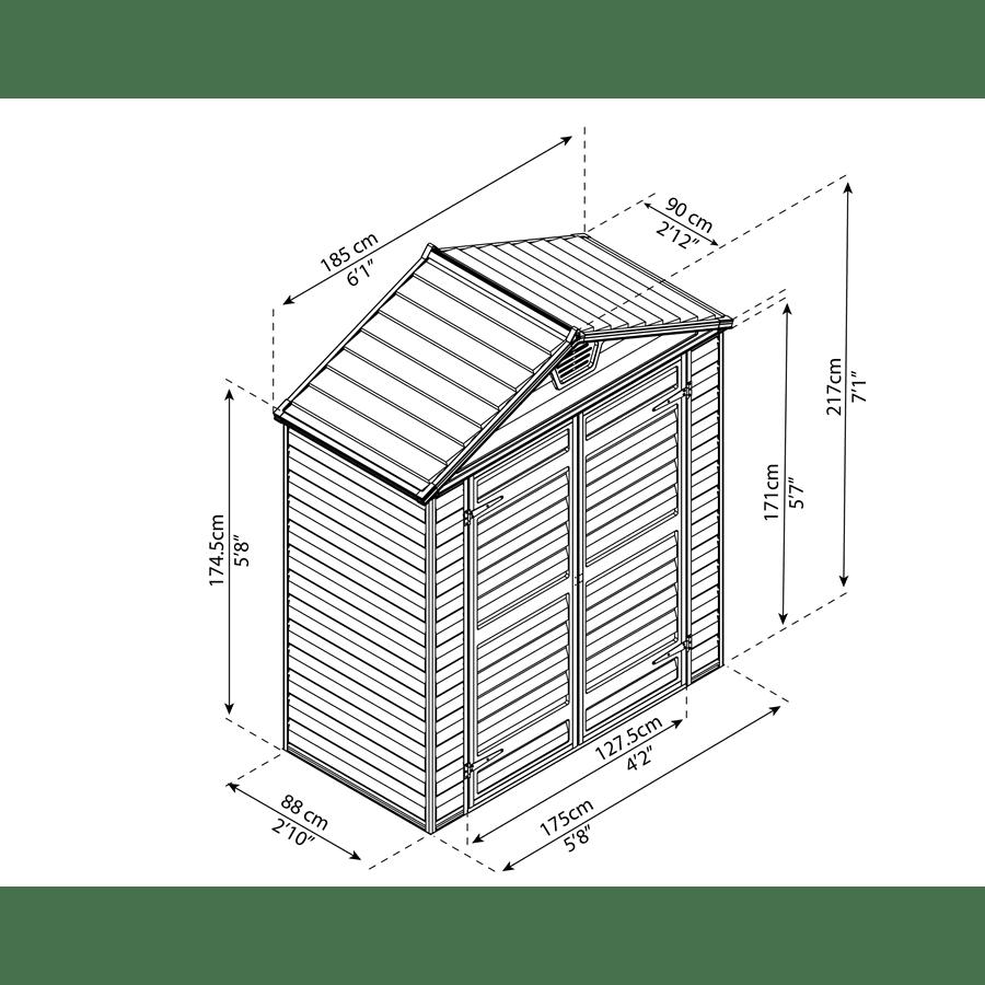 מחסן גינה סקיילייט 6X3
