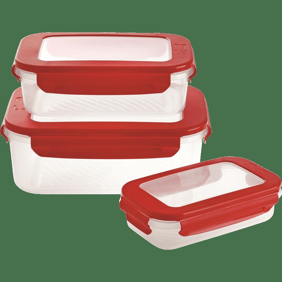 סט 3 קופסאות פלסטיק מלבן