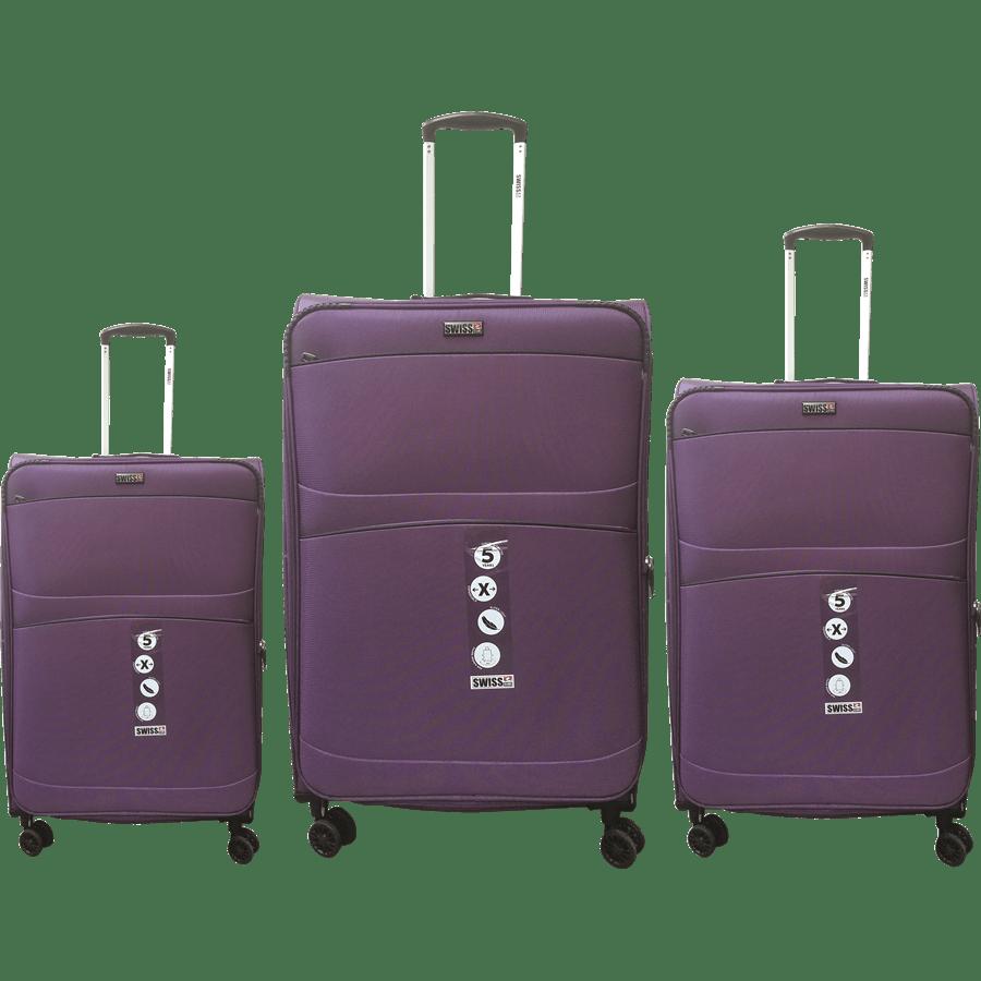 שלישית מזוודות בד סגול