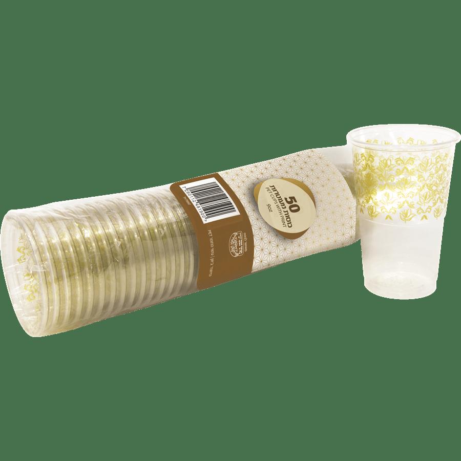 כוסות שתייה בעיטור לבן
