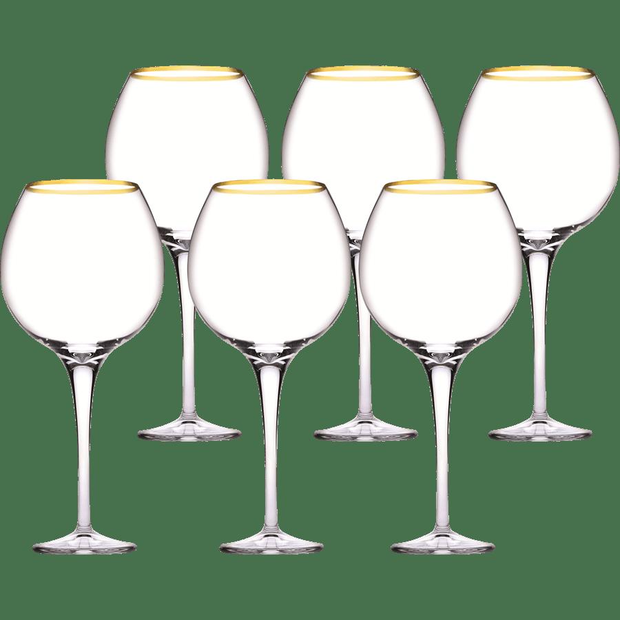 סט גביעי יין פס זהב