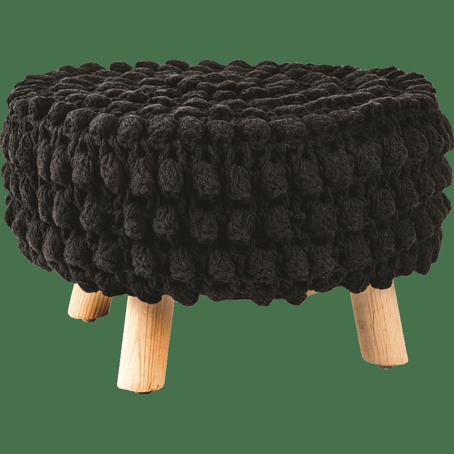 שרפרף עץ בד קרושה שחור