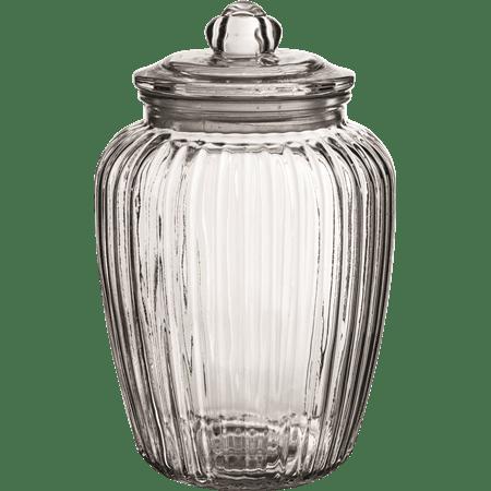 צנצנת זכוכית פסים+מכסה