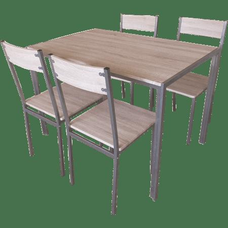 שולחן + 4 כסאות חום בהיר