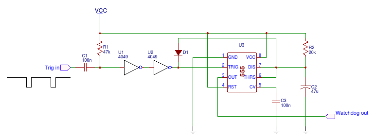 Fig. 1 Watchdog timer circuit with 555