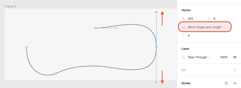 ベジェ曲線 Mirror Angle and Length