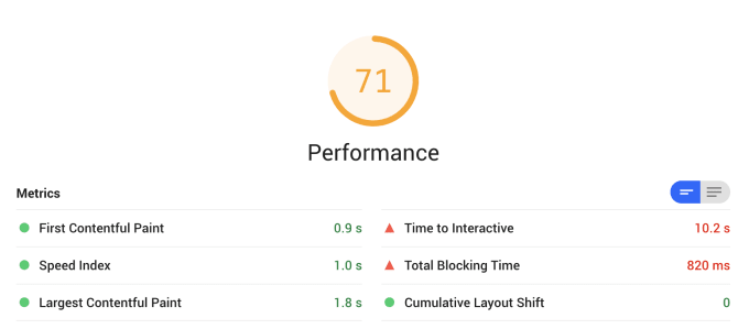 Screenshot of performance scores in Lighthouse (71)