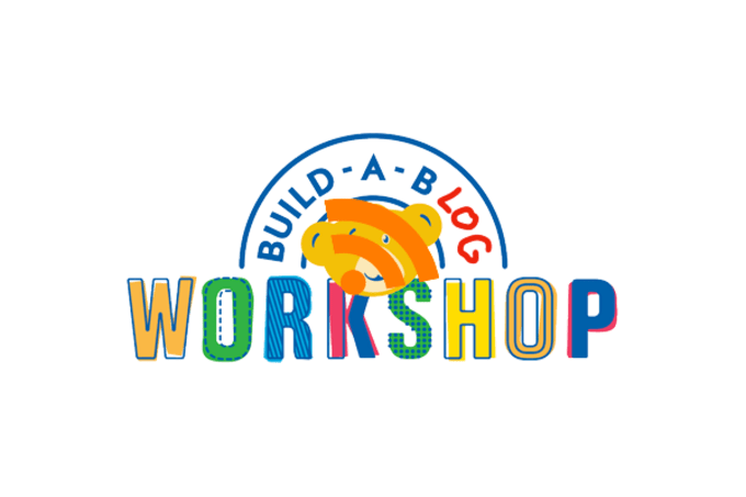 Build a bear workshop logo with the bear overlayed with an RSS icon and the word bear overwritten with 'blog' by hand