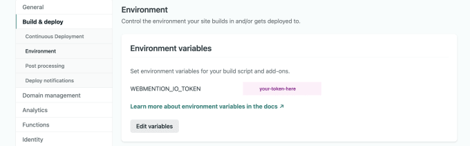 Screenshot of Netlify site settings showing the WEBMENTION_IO_TOKEN variable