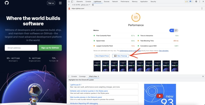 Dev Tools with a Lighthouse report open showing the button between the metrics and screenshots sections