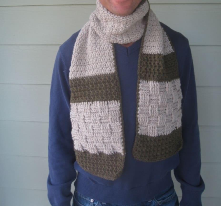 Man wearing a crochet scarf