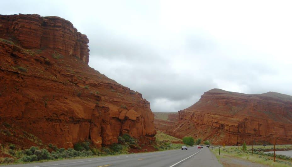 Red weathered desert cliffs