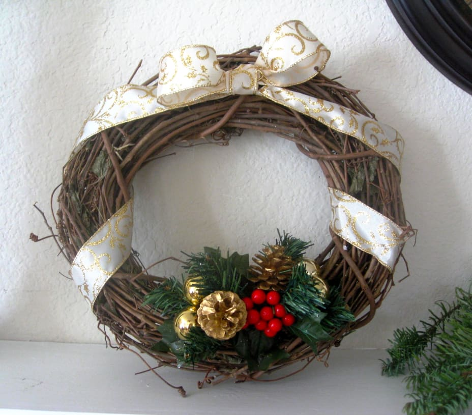 Wooden wreath with ribbon