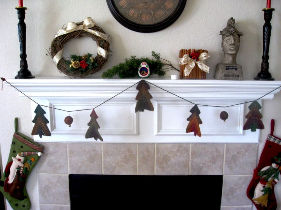 Fireplace mantel with all of the above crafts on it