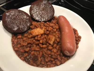 Boston Baked Beans with Brown Bread and Knockwurst