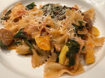 Pasta with Summer Squash, Spinach, Beet Greens and Sausage