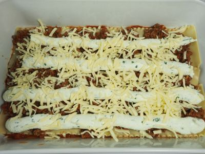 Add Another Layer of the Meat Sauce, Ricotta and Mozzarella