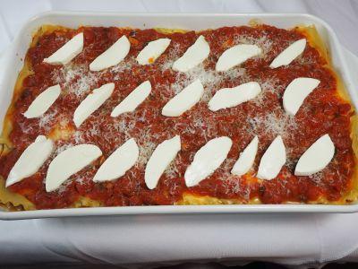 Arrange the Fresh Mozzarella Pieces on Top of the Lasagna