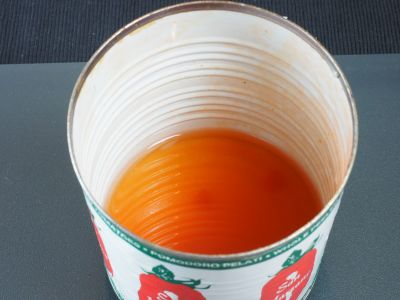 Rinse the Tomato Cans with a Little Water