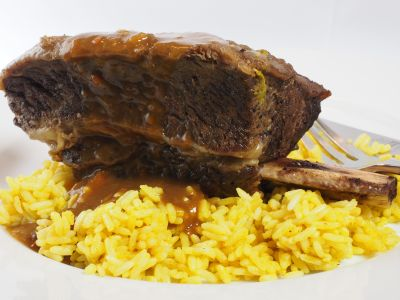 Beef Spare Ribs Served Over Curried Rice