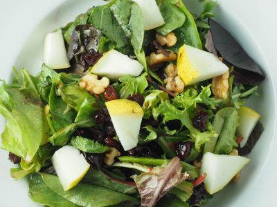 Pear and Walnut Salad with Raspberry Vinaigrette