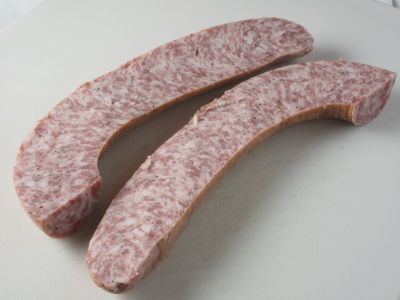 Smoked Sausage Cut in Half (Note the Fat Marbling)