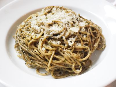 Basil Pesto with Spaghetti and Parmigiano Reggiano on Top