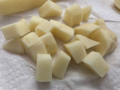 Diced Potatoes - Notice the Different Sizes