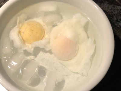 Two Eggs Added at the Same Time and Cooked the Same Time with Different Results