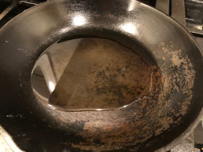 Cast Iron Skillet with Oil Added