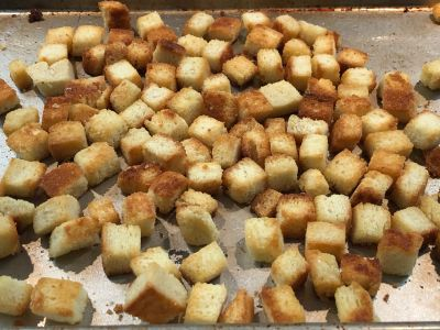 Cooked Croutons Out of the Oven after 14 Minutes