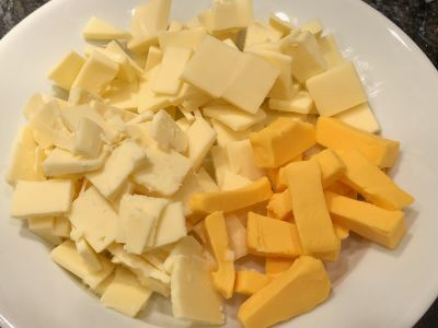 Cheeses Cubed and Ready to Add to the Sauce
