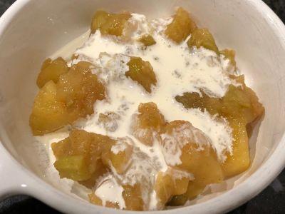 Apple Rhubarb Sauce Served with Heavy Cream