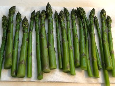 Asparagus Drying on Paper Towels