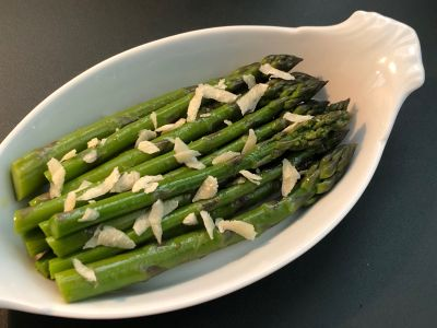 Asparagus Served with Shaved Parmigiano Reggiano Cheese