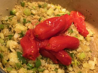 Tomatoes Added to the Rice and Vegetable Mixture