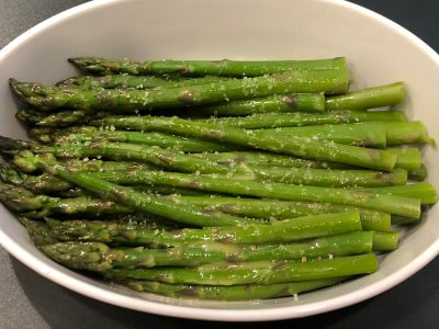 Asparagus Served with Fleur de Sel Sprinkled on Top