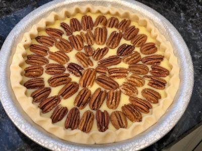 Pie with Pecans Arranged on Top