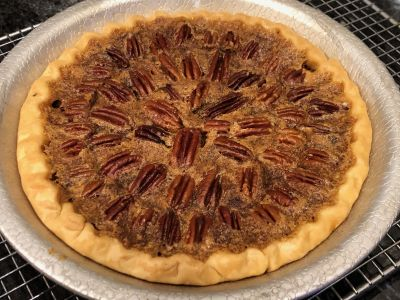 Pecan Pie Baked with Whole Pecans Arranged on Top