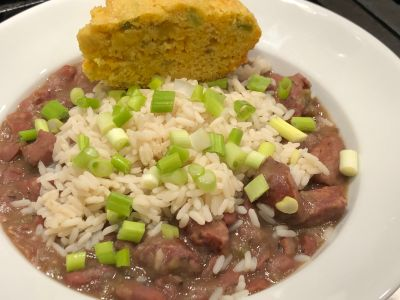 Red Beans and Rice Served with Jalapeno and Cheddar Cornbread