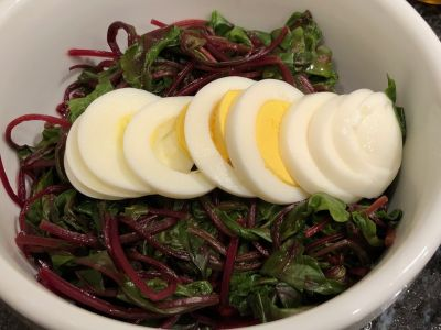 Beet Greens Served with a Hard Boiled Egg
